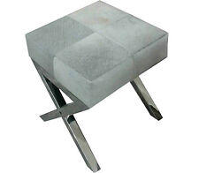 Handmade Beautiful Designer Gray Hairy Leather Sidetable cum bench with ss base