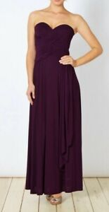 JENNY PACKHAM PURPLE PLEAT STRAPLESS WATERFALL EVENING MAXI DRESS 12 BNWT £130