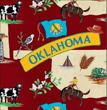 The Sooner State of Oklahoma Map Print Fleece Fabric Print by the Yard A240.01
