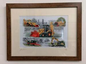 JCB 3cx Farm Trailer Loader Excavator 75th Anniv A4 Picture Print Ltd Ed 1/250