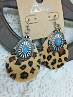 Leopard Concho Silver Turquoise Earrings Dangle Western Country Southwest Retro