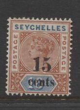 SEYCHELLES - 1893 QV 15c ON 16c DIE I SURCHARGE MINT SG.18.  (REF.D353)