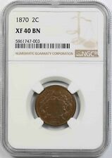 1870 2C NGC XF 40 BN Two-Cent Piece