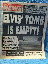 "NOS JULY 24, 1990 WEEKLY WORLD NEWS ""ELVIS' TOMB IS EMPTY!"" THE KING IN COFFIN"