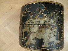 Antique Tibetan Round Pear Wood Fruit Bucket w Golden Paintings Decorative c1890