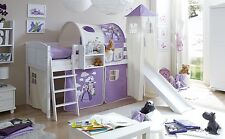 Lit mezzanine avec toboggan et tour EKKI Pin massif teinté blanc tissus Chevaux