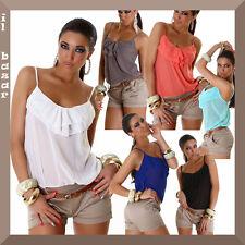 Overall tuta intera corta donna tutina cintura shorts bicolore spalline nuova #