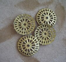 22 vintage metal flower beads, stamped brass,  22mm