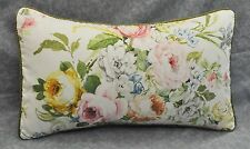 Pillow made w/ Ralph Lauren Home Lake White Floral Rose Fabric 20x12 trim cord