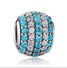 1pcs Silver European Charm Blue Crystal Spacer Beads Fit Necklace Bracelet NEW