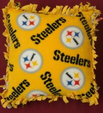 PITTSBURGH STEELERS  PILLOW )Fleece Tied  No-Sew -  NEW. HANDMADE. (Y) NFL