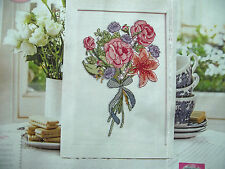 A BEAUTIFUL BOUQUET OF FLOWERS TIED TOGETHER WITH RIBBON CROSS STITCH CHART