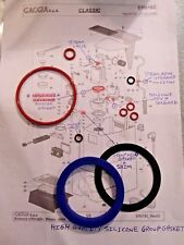 9x O Ring + Silicone Group Gasket Full Service kit Gaggia Classic Baby Tebe Evo