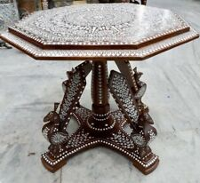 Antique Style Rosewood  Indian Inlaid Table 22 Inches Top  Peacock Legs
