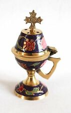 Greek Russian Orthodox Brass Dark Blue Enamel Coated Incense Burner Censer