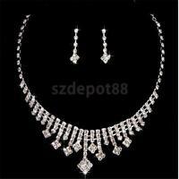 Silver Crystal Rhinestone Earrings Necklace Wedding Prom Bridal Jewelry Set