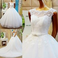 New White/Ivory Bow Belt Lace Wedding Dress A-line Bridal Gown Custom Size 4-26+