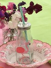Flamingo Mini Milk Bottle, Glass Bottle with Straw, Party, Picnic
