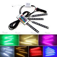 4x9 LED Remote Control Colorful RGB Car Interior Floor Atmosphere Light Strip #U