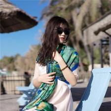 180x90CM Women Peacock Feather Pattern Silk Scarf Scarves Wraps Shawl Pashmina