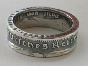 Münzring 5 Reichsmark Hindenburg 1935-36 Silber 900er Gr. 52 bis 72 Ring vintage