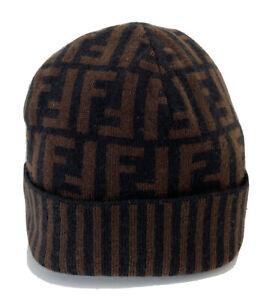Fendi Vintage Zucca Monogram FF Logo Knit Hat/ Beanie Brown/Black One Size