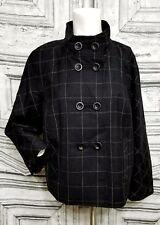 ARMANI COLLEZIONI Women's 8 Suit Jacket Blazer Virgin Wool Plaid Black Italy