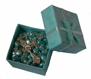 Boys Blue Heart 1st Rosary Beads In Gift Box Communion Baptism Confirmation Baby