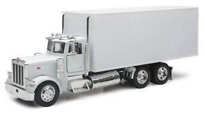 """NewRay Peterbilt 379 delivery Box Semi Truck 1:32 scale 12"""" diecast White"""
