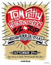 TOM PETTY & THE HEARTBREAKERS/ZZ TOP 2010 HOUSTON CONCERT TOUR POSTER-Rock Music