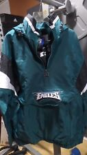 Philadelphia Eagles Starter VINTAGE ENFORCER Hooded Half-Zip Pullover Jacket szM