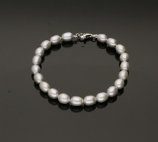 Coltivate Perle Bracciale. Naturale Argento/Greycolour. 20.3cm 6.8mm Perla