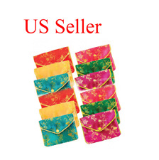 """12 pcs Silk Jewelry Chinese Pouch Bag, Assorted Colors W/Zipper - 3.5"""" x 3.0"""""""