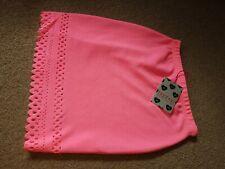 Boohoo Uk 10 Pink Elastic Stretch Skirt Neon Bright Fluorescent
