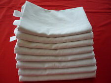 Lot de 8 grands torchons ou essuie-mains réalisés dans des draps anciens en lin