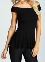 Womens Ladies Black Viscose Off Shoulder Bardot Peplum * T-Shirt Skater Top 8