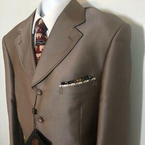 New Pallini 2 piece brown suit man size 40L flat pants 34x30 Italian Super 150s