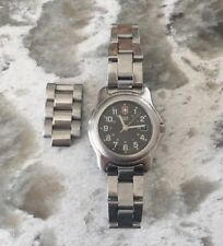 Vintage Stainless Steel SWISS ARMY BRAND WATCH Date Black Face Extra Links