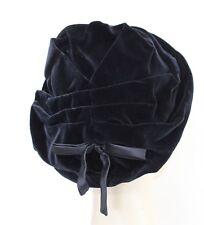 1960s Hat Black Velvet Womens Ladies Vintage Accessories 50s Style