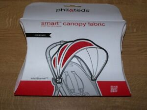 PHIL AND TEDS SMART BUGGY HOOD FABRIC RED=