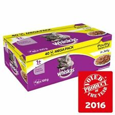 Whiskas 1+ Cat Pouches Poultry in Jelly 40 x 100g (PACK OF 6)