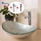 Bathroom Vessel Sink Oval Artistic Glass W/ Chrome Faucet & Pop-Up Drain Combo
