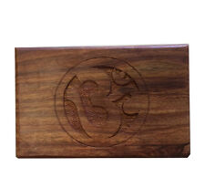 """Wooden Carved OM SIGN Tarot Box Wicca Pagan 4"""" X 6"""" inchs FREE SHIP Jewerly box"""