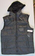Men's Herringbone Grey Vest With Detachable Hood