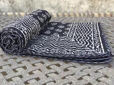 Indian Handmade Quilt Black bag Kantha Bedspread Throw Cotton Blanket Gudri twin