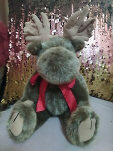 "Boyds Bear Christmas Reindeer Moose 14"" Soft Plush Jointed Bean 1988-2002"