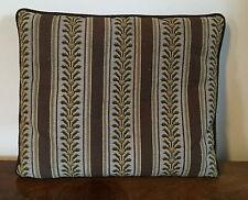 Vintage Needlepoint Pillow Regency Stripe Brown Green Palm Beach Estate