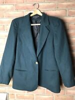Braebrook Women's Lined Jacket Blazer Size 12 100% Wool Green 1button Front