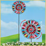 Colorful Metal Double Wind Spinner Stake Outdoor Garden Yard Home Art Decor