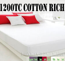 White KING Bed New 1200TC CVC Cotton No-iron 40cm Extra Deep Fitted Sheet